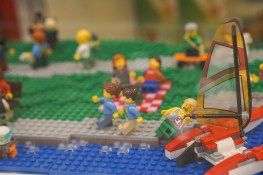 Minifigure falling off boat in LEGO display at Myer