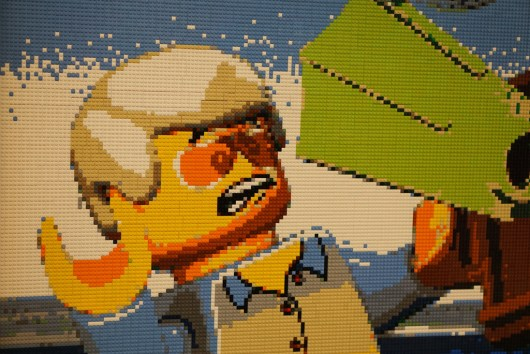 LEGO minifigure in LEGO mosaic in Myer