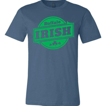 A blue T-shirt with green Buffalo Irish graphic.