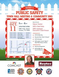 Public Safety Town Hall Meeting & Community BBQ Oct 11 Spring Branch Management District