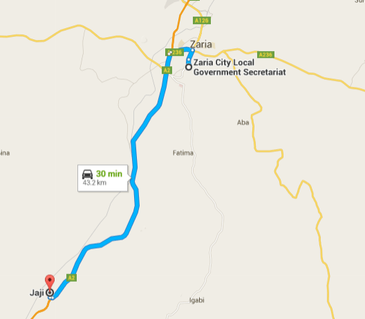 The distance between Jaji and Zaria.