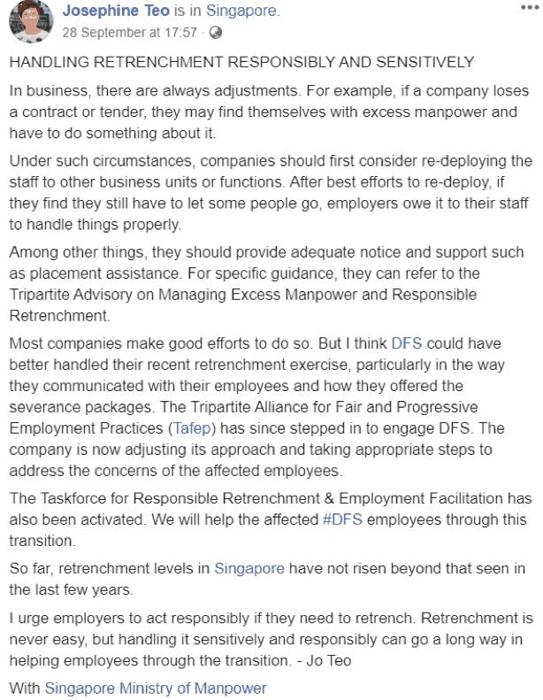 Josephine Teo DFS retrenchment exercise fiasco statement