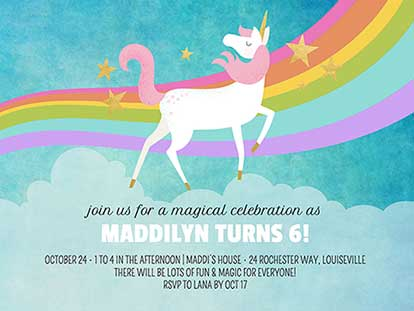 unicorn invitation templates