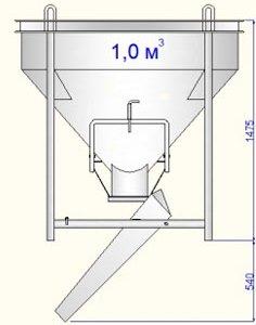 бункер для транспортировки строительных смесей БН-1 Рюмка