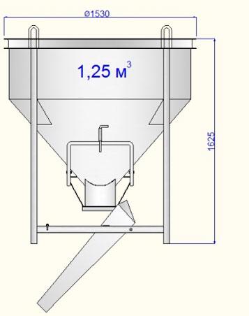 бункер для приема строительных смесей БН-1,25 купить