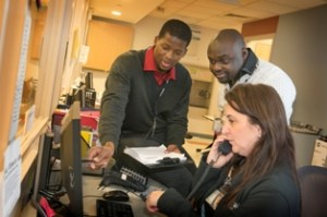 Lesego Goba (left) works in CPEP at Stony Brook University Medical Center. Photo via Stony Brook Medicine.