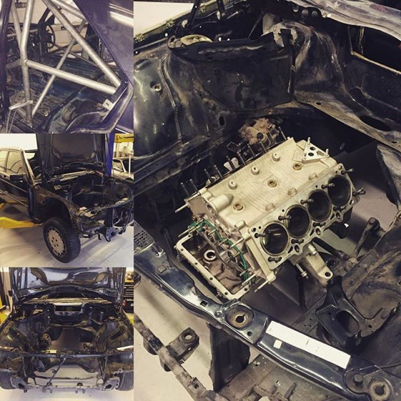 Ok so this project is different!! #190e #mercedes #ferrariengine #360modena #tractivegearbox #ferrari #amg #hoonigan