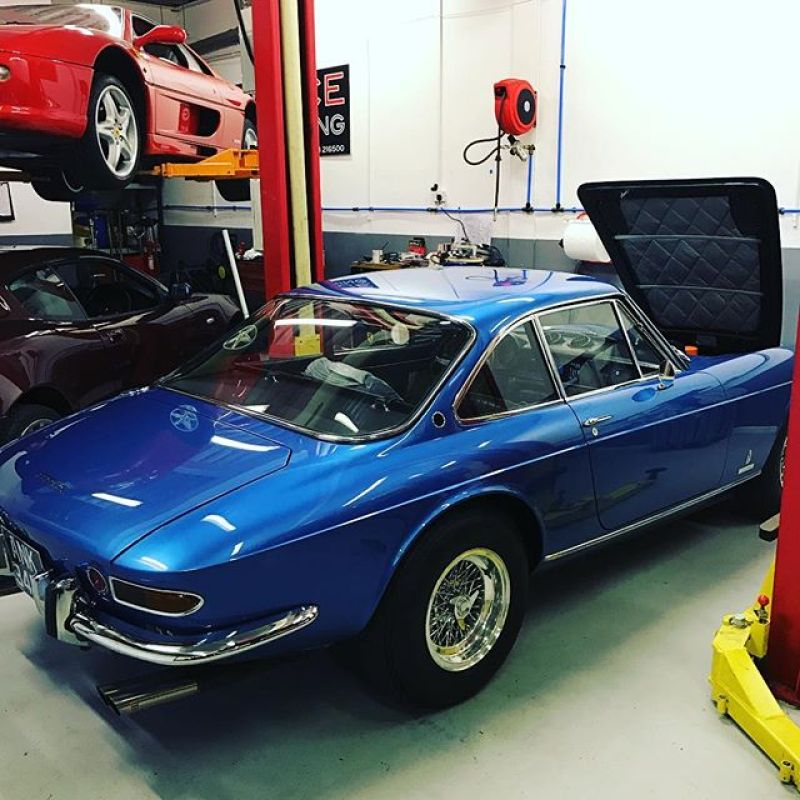 Friday at last! A lovely 365GTC in for an inspection #workshop #classiccars #ferrari #ferrari365 #blue #checkbeforeyoubuy