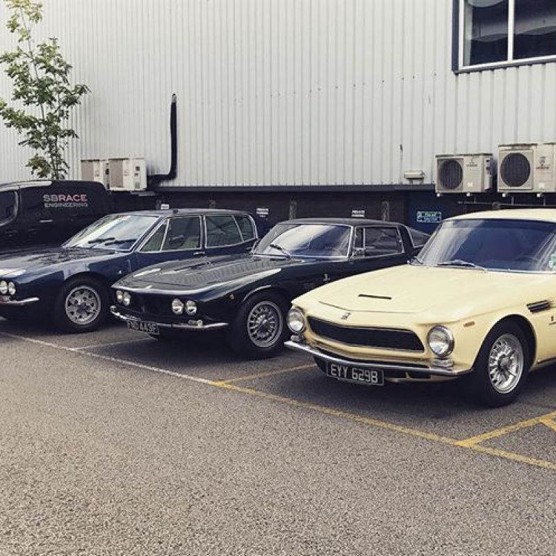 A rare collection of ISO's at SB today! A Gifo that we have done extensive work to, a Rivolta for gearbox work and a Fidia visiting! #restoration #sbraceengineering #specialist #americanv8 #grifo #rivolta #fidia #iso #engineering #enginebuild #gearbox