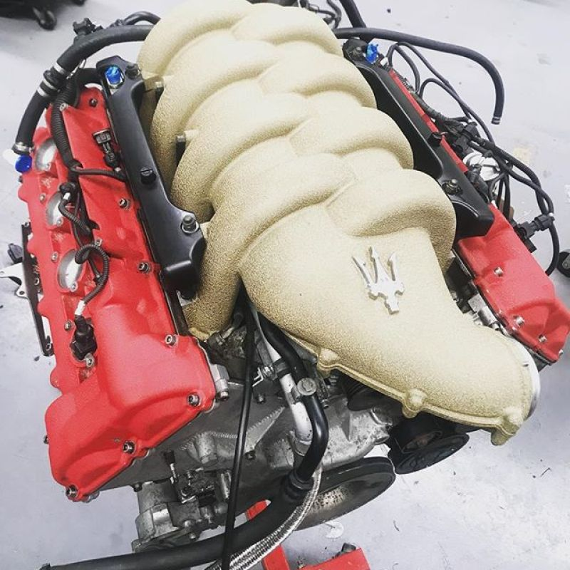 Another engine built! Believe it or not some parts aren't available for these engines anymore!! Is ten year that old now!?? #maserati #ferrari #specialists #engineroom #enginebuild #v8 #sbraceengineering