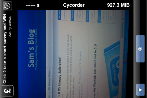 Cycorder on iPhone 3G