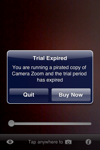 Camera Zoom Trial Screen