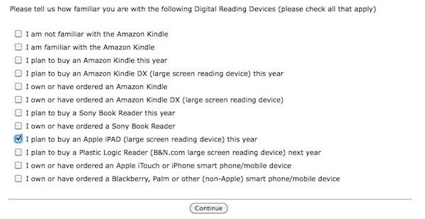 Apple iPAD Borders Survey