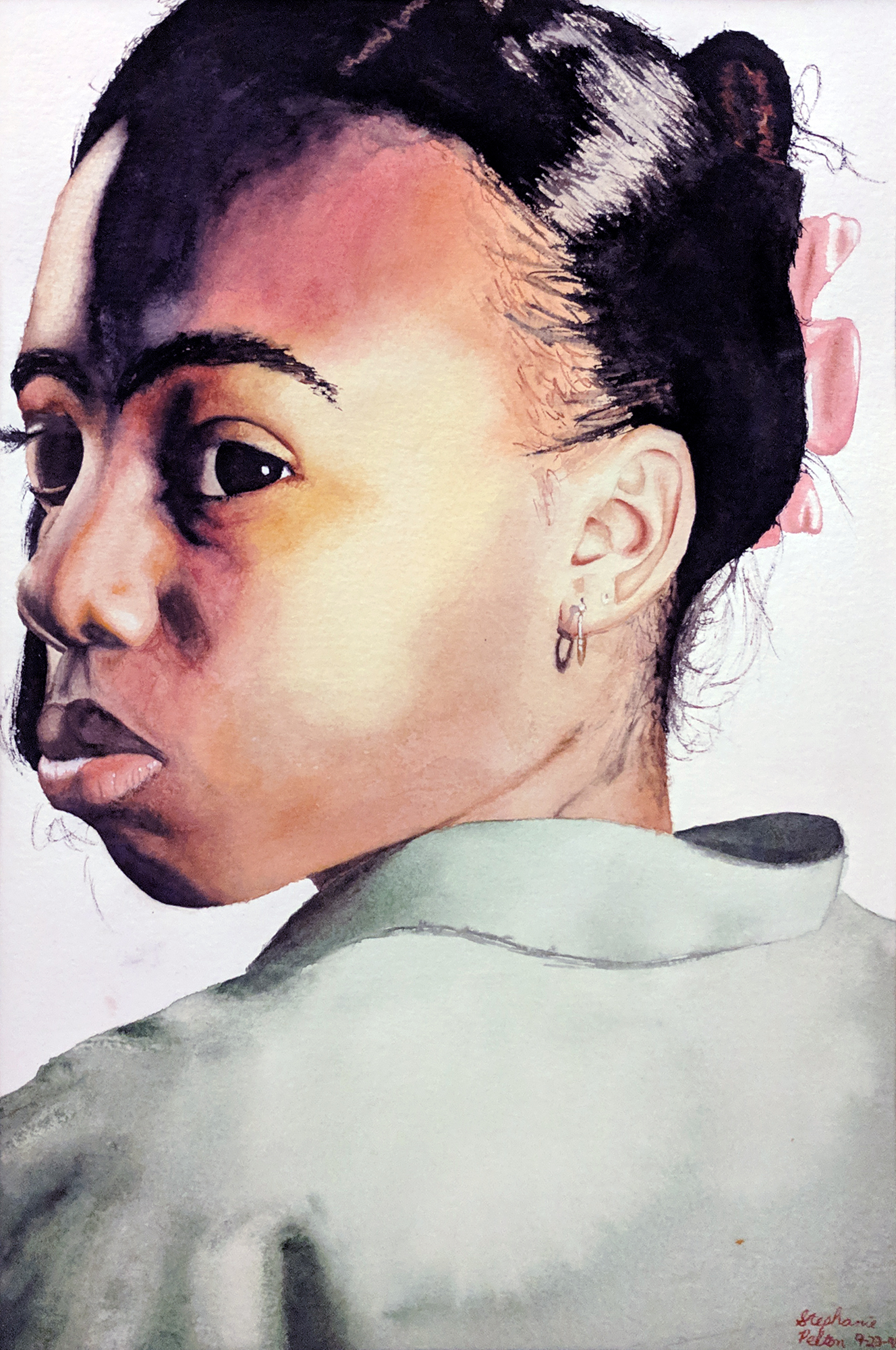 watercolor portrait of African American girl