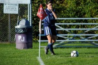 Brianna Stiklickas about to strike a corner kick that will even the game at 1-1