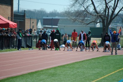 Colucci (3rd from left) in the blocks