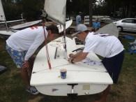 Gallipeau (left) & Martin prep a dinghy (Photo credit: G. Linzee)