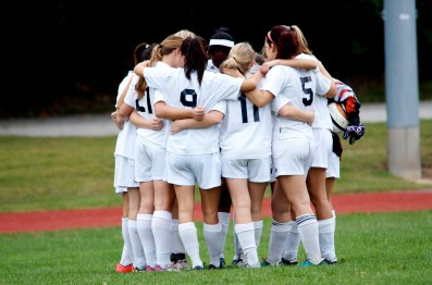 The girls huddle before the game