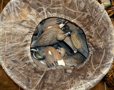 A basket of decoys among the recovered items.