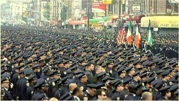 A sea of police officers outside the church in New York where the funeral for a murdered officer was held Dec, 27, attended by two St. Bernard sheriff's deputies.