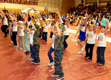 Students sing and dance as part of the pageant.