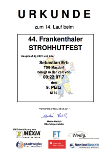 Urkunde - Strohhutfestlauf 2017