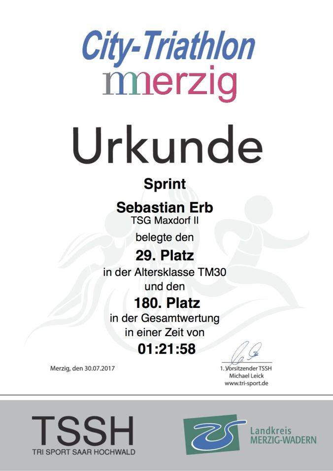 Urkunde City Triahlon Merzig 2017