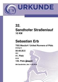 Urkunde - 32. Sandhofer Straßenlauf 2018 - 5 km