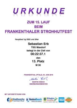UrkundeStrohhutfestlauf Frankenthal 2018