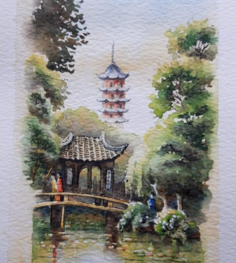 Chinese Garden watercolour