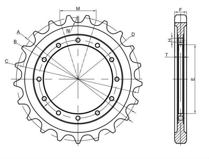 undercarriage parts bulldozer sprocket segment D20A-6 D20P