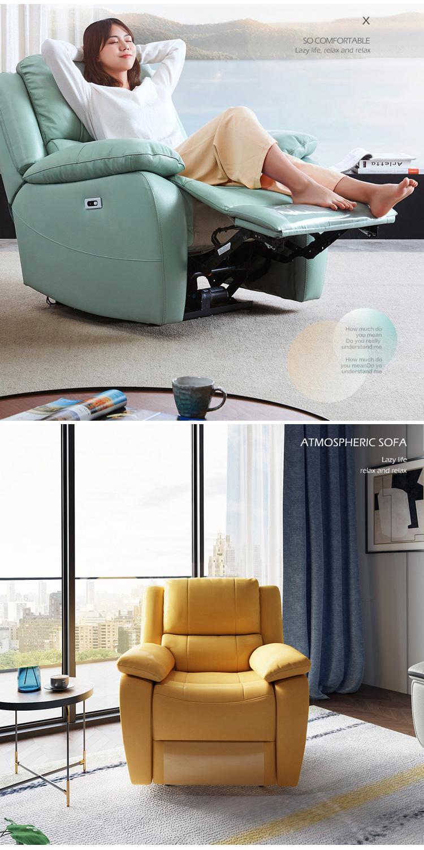 Modern Living Room Set Bedroom Lazy Leather Single Sofa Chair