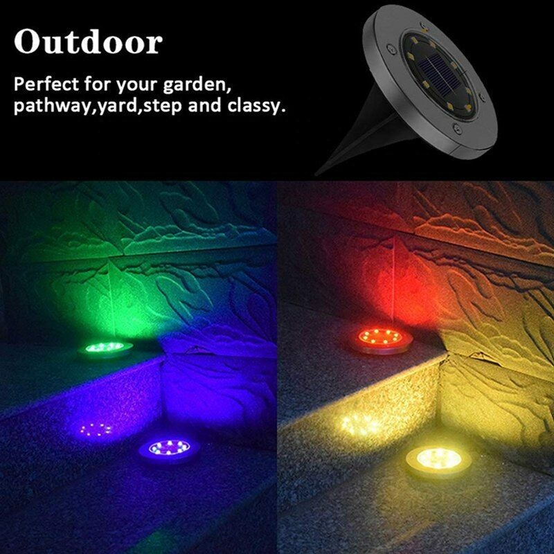 colored disk garden waterproof landscape lighting yard lawn patio pathway walkway driveway changing color solar ground light buy bulb post top