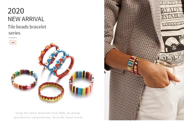 new elastic jewelry stretch bracelet fancy young fashion colorful rainbow enamel tile bracelet buy tile bracelet rainbow bracelet jewelry stretch
