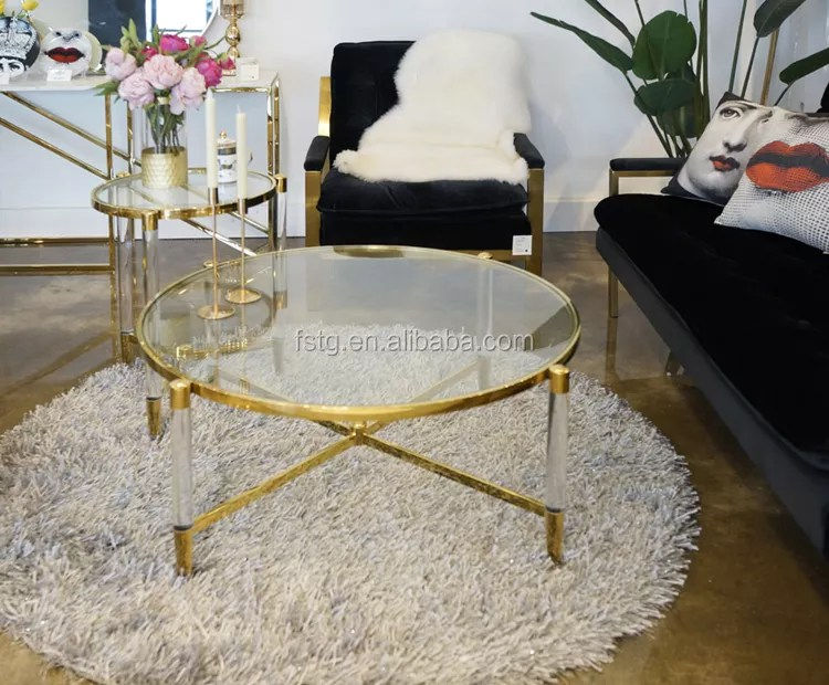 gold finish stainless steel tempered glass top amaya round gold lucite coffee table buy lucite coffee table amaya coffee table round gold coffee