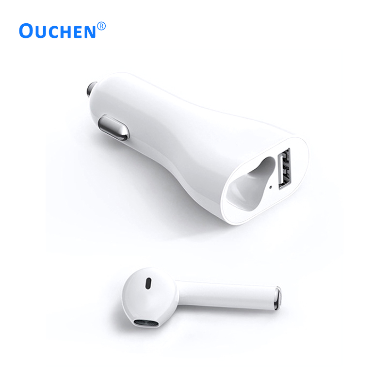 2019 mini portable wireless bluetooth Car kit stereo earbuds 2 in 1 car charger earphone for Car