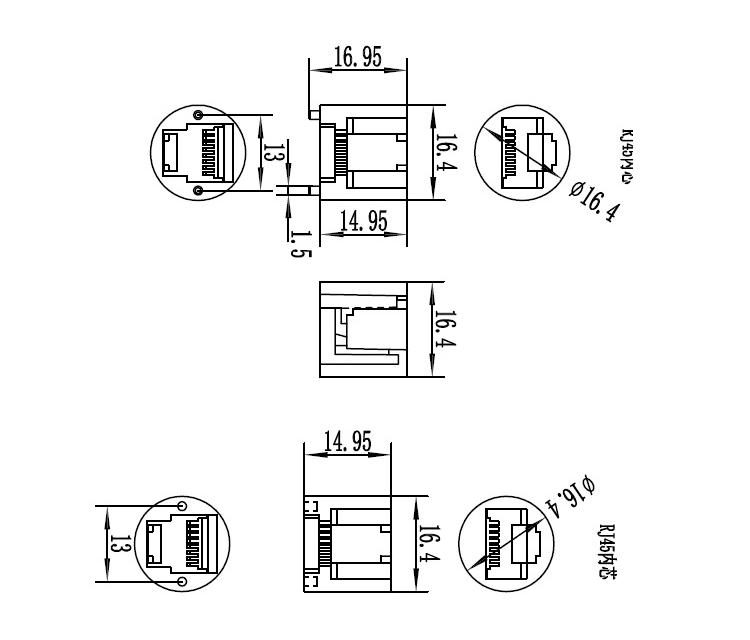 M19 Ip68 Rj45 Waterproof Ethernet Connector 8pin Panel