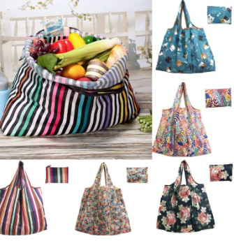 Custom fold able print reusable shopping bag use nylon  fabric with own pattern