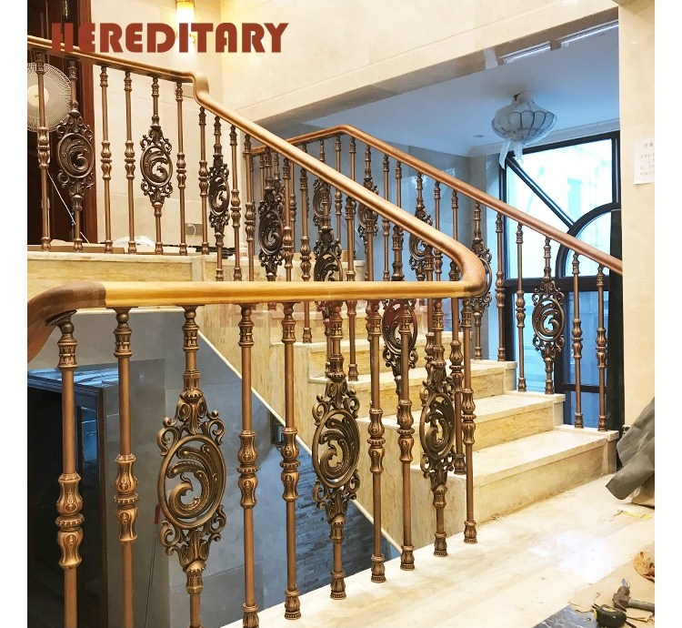 Wrought Iron Baluster Aluminum Curved Staircase Railing Handrail | Wrought Iron Baluster Designs | Rot Iron Staircase | Rod Iron | Metal Rail | Stair Railing | Replacement