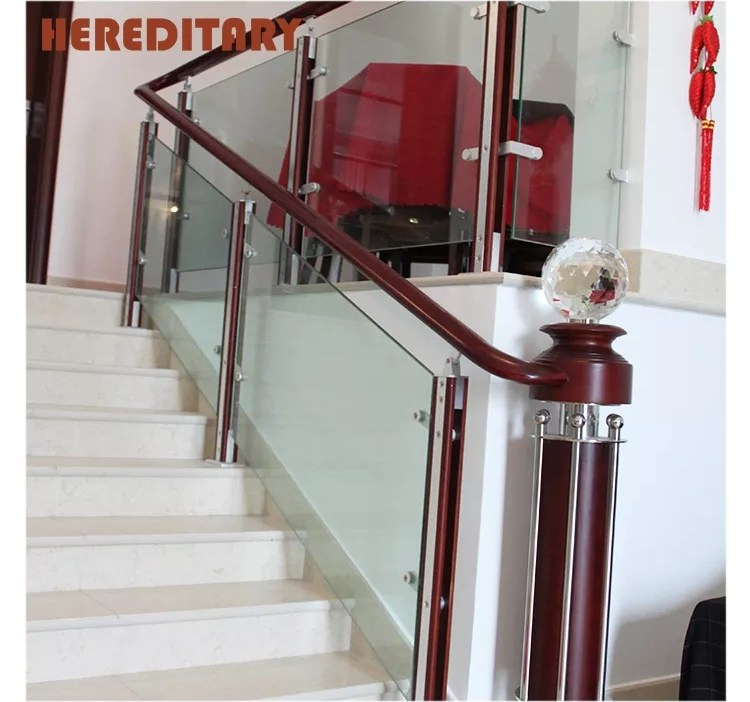 Wood Glass Baluster Handrail Stair Railing Glass Railing Stair | Wooden Stair Rails And Balusters | Stair Parts | Wrought Iron Balusters | Stair Spindles | Newel Posts | Stair Treads