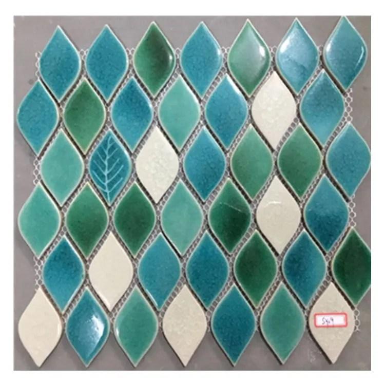 japanese blue green glazed leaf pattern swimming pool ceramic mosaic tiles for around the swimming pool buy azul de azulejos de mosaico piscina