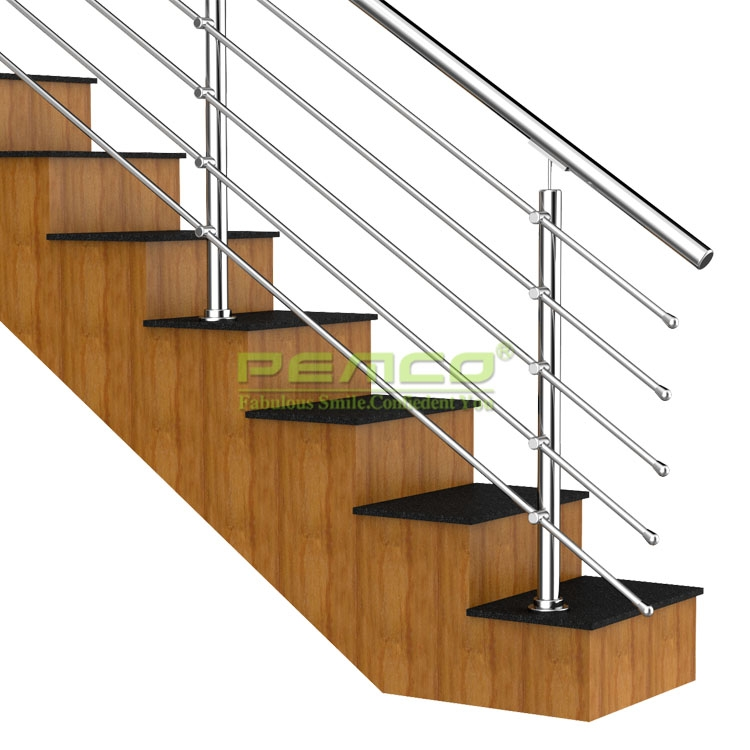Round Or Rectangle Top Pipe Stainless Steel Balustrades   Stainless Handrails For Stairs   Toughened Glass   Outdoor   Mild Steel Handrail   Commercial Building   Metal