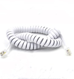 elastic fibre wire telephone spring cable with 4p4c modular plug rj11 slingshot cord [ 1000 x 1000 Pixel ]
