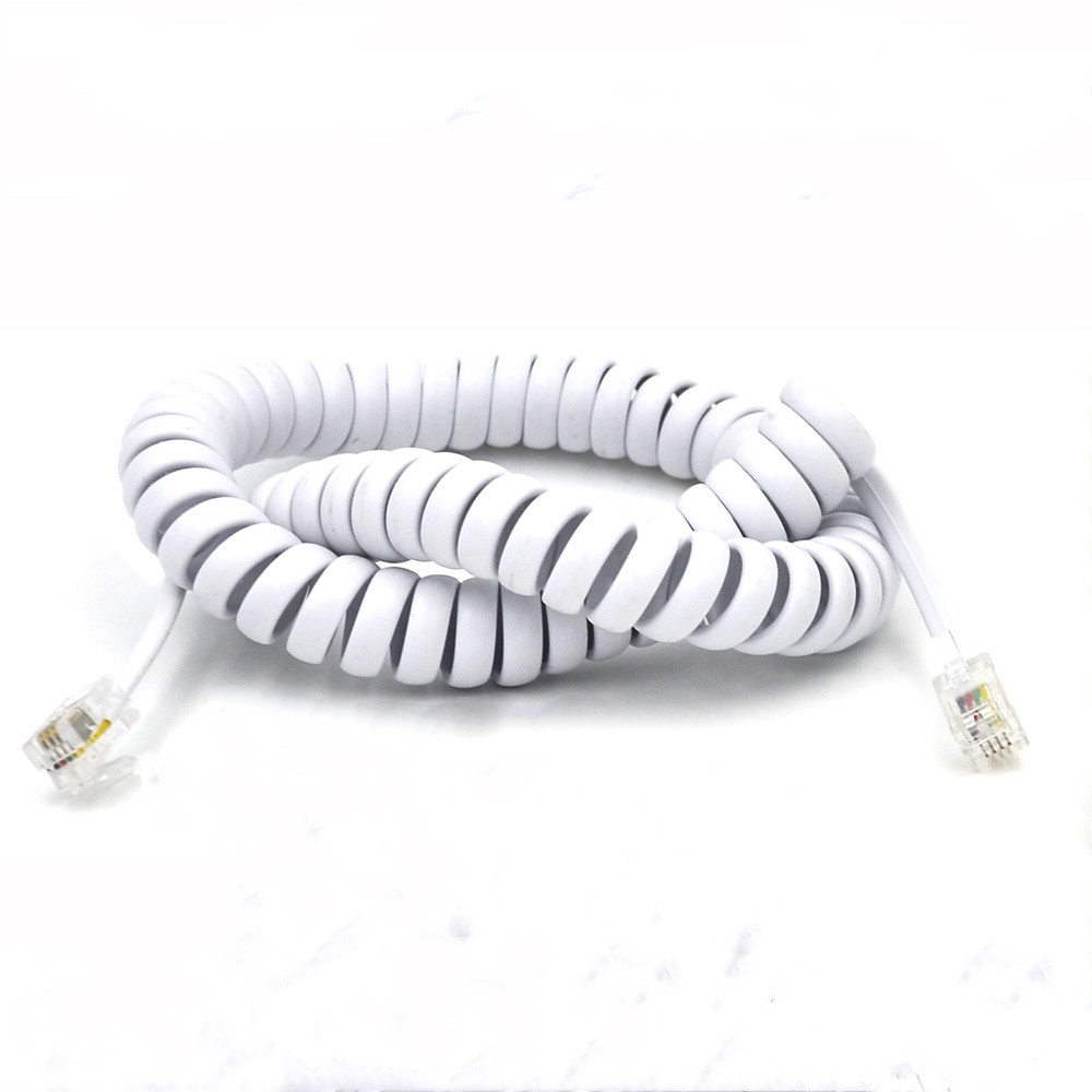 hight resolution of elastic fibre wire telephone spring cable with 4p4c modular plug rj11 slingshot cord