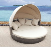 Pool Furniture With Canopy Waterproof Sun Bed Round Rattan ...