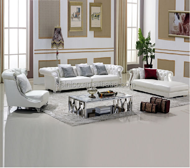 Pure White Chesterfield Leather SofaCoffee TableLiving