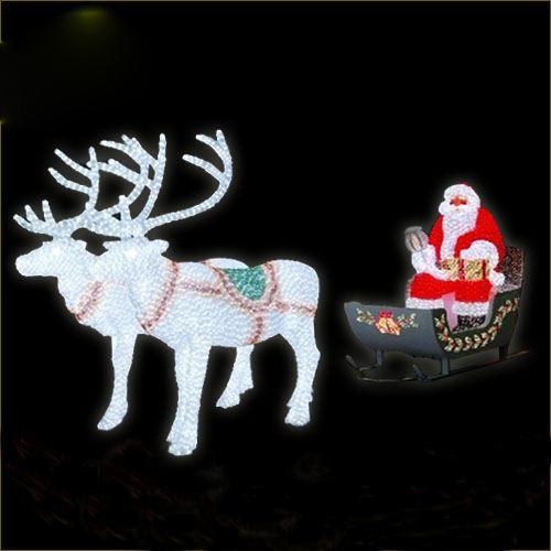 Giant Illuminated Santa Sled Sleigh W 1 Reindeer General Foam Plastics Corporation Plastic Light Up Christmas Holiday Decorations