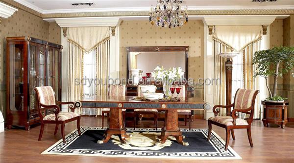 0010 European Luxury dining room classic wood furniture