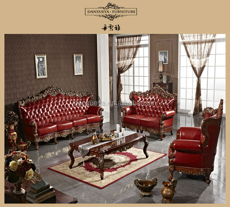 red leather living room furniture set chest antique elegant french style luxury royal wood carved sofa