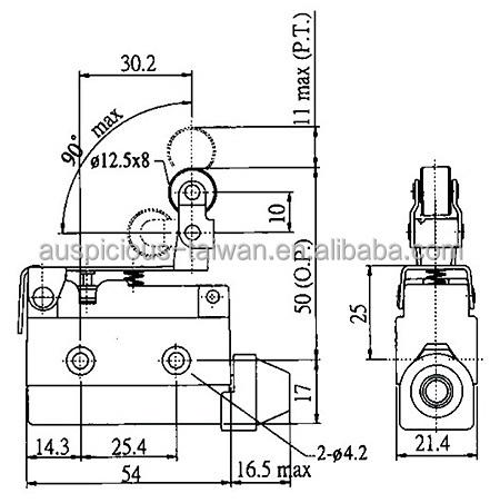 AZ-7144 IP65 10A 250V Mini Enclosed Limit Switch Roller